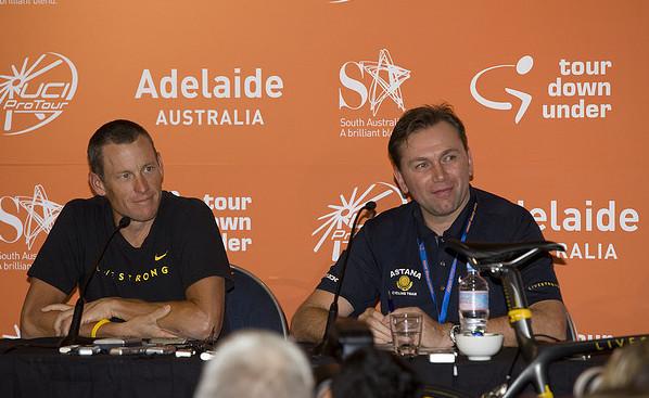 Lance Armstrong (l.) und Johann Bruyneel im Jahr 2009
