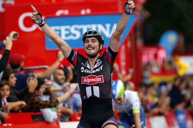 John Degenkolb (Team Giant - Alpecin) jubelt in Madrid bei der 70. Vuelta a Espana