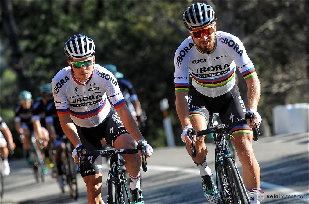 Weltmeister Peter Sagan (rechts) im Trikot seines neuen Teams Bora-hansgrohe