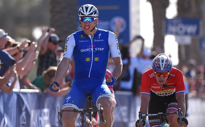 Marcel Kittel bejubelt seinen Etappensieg auf der ersten Etappe der Dubai Tour 2017