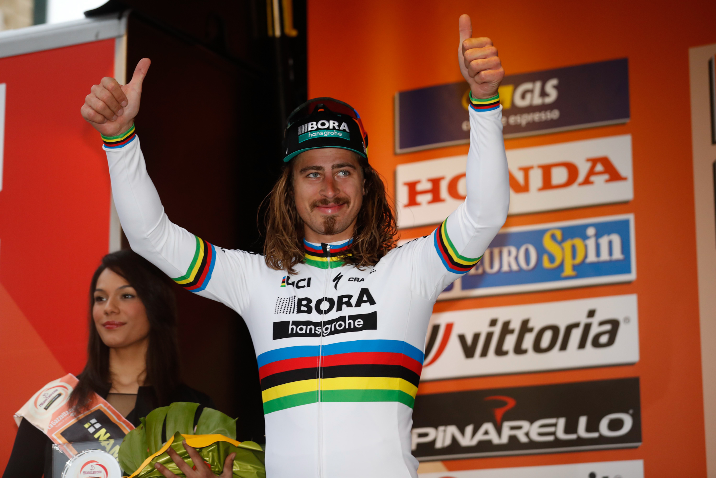 Noch guten Mutes: Peter Sagan vor dem Start bei Mailand - San Remo. (Foto: © BORA-hansgrohe / Stiehl Photography )