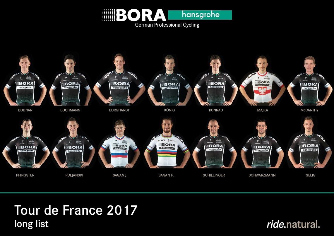 Das vorläufige Aufgebot von Bora-hansgrohe für die 104. Tour de France - Foto: Bora-hansgrohe