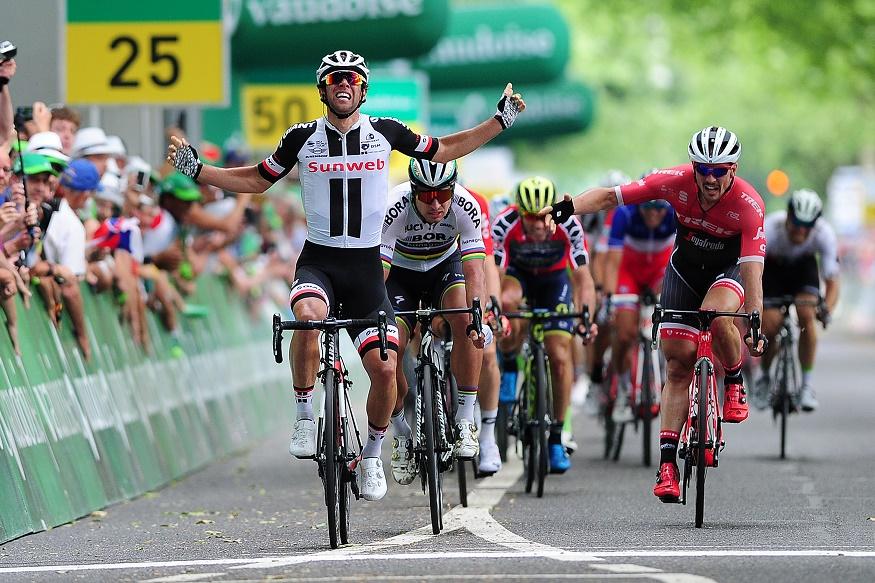 Michael Matthews gewinnt die 3. Etappe der Tour de Suisse 2017 vor Peter Sagan und John Degenkolb.