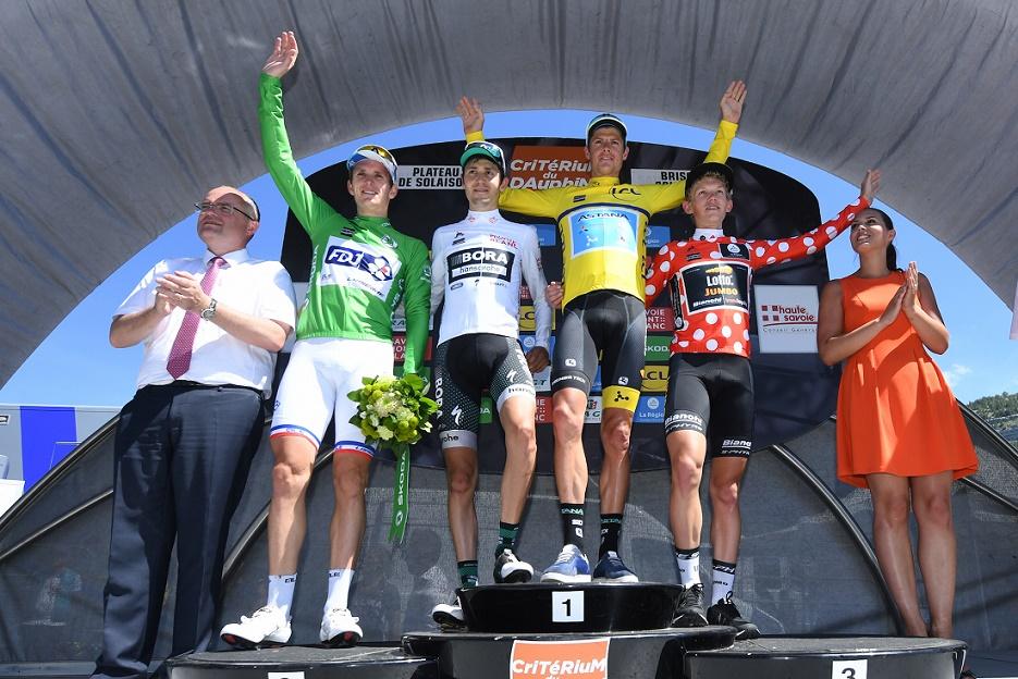 Die Gewinner der vier Wertungstrikots beim 69. Critérium du Dauphiné -