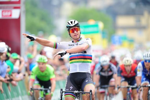 Peter Sagan (Bora-hansgrohe) bejubelt seinen insgesamt 14. Etappensieg bei einer Tour de Suisse
