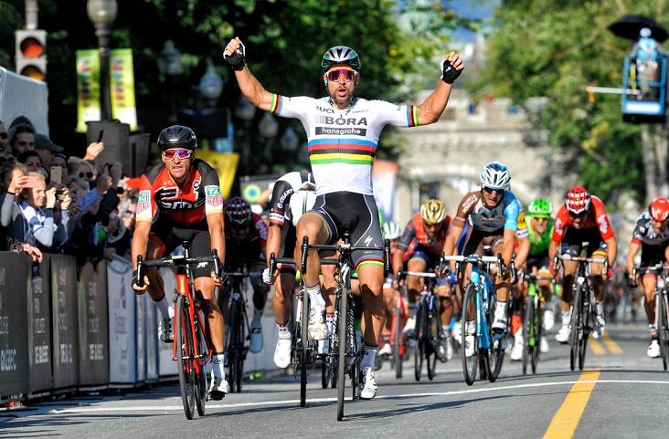 Peter Sagan (Bora-hansgrohe) bejubelt beim Prix Cycliste de Quebec 2017 seinen 100. Profisieg - Foto: ©BORA-hansgrohe / VeloImages