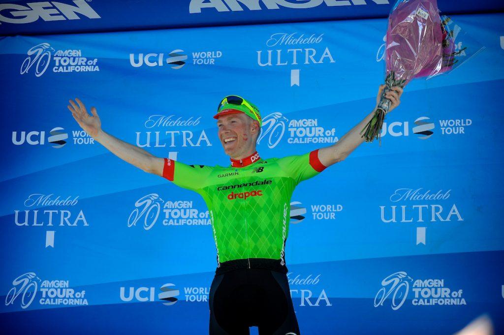 Andrew Talansky (Cannondale-Drapac) bejubelt im Mai bei der Kalifornien-Rundfahrt seinen letzter Sieg als Radprofi - Foto: © Cor Vos / Cannondale-Drapac Pro Cycling Team / Slipstream Sports