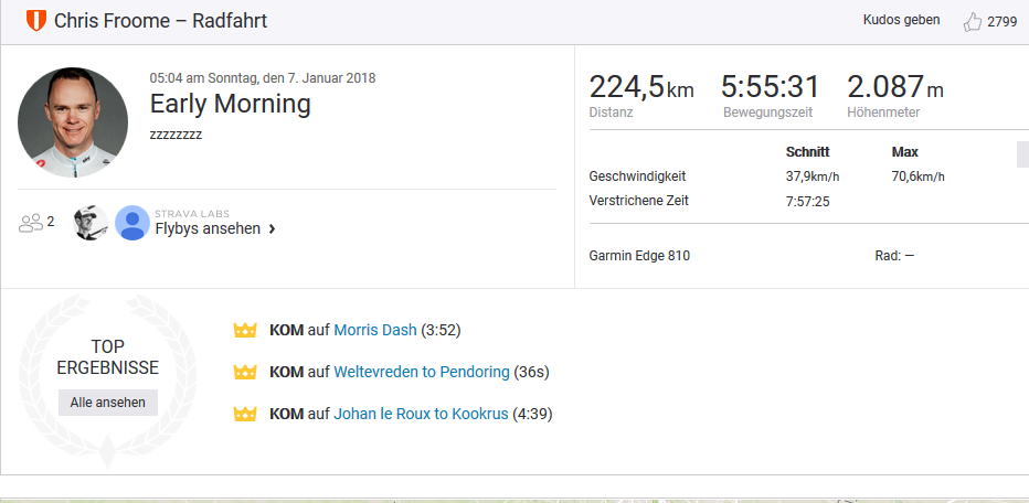 Christopher Froome Trainingseinheit vom 7. Januar 2018 - Quelle: Strava / www.strava.com/activities/1343171851