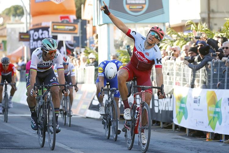 Auch auf der 6. Etappe von Tirreno-Adriatico kam Weltmeister Peter Sagan (Bora-hansgrohe) nicht an Marcel Kittel (Katusha-Alpecin) vorbei - Foto: © BORA – hansgrohe / Bettiniphoto