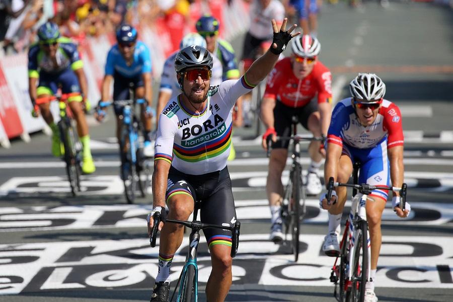 Peter Sagan (Bora-hansgrohe) bejubelt seinen neunten Tour-Etappensieg - Foto: © BORA-hansgrohe / Bettiniphoto